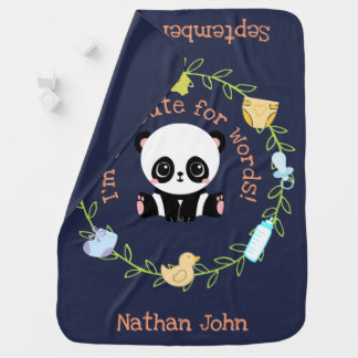 Too Cute For Words Personalized Baby Panda Wreath Baby Blanket