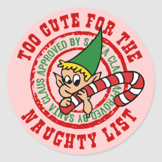 Too Cute Naughty List Classic Round Sticker