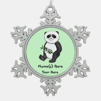 Too Cute Panda Bear Snowflake Pewter Christmas Ornament