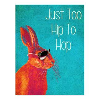 Too Hip To Hop Blue Postcard