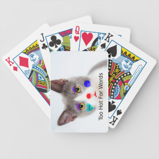 """""""Too Hot For Words"""" Cat With Clown Makeup Bicycle Playing Cards"""