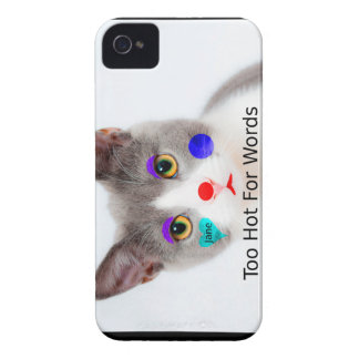 """Too Hot For Words"" Cat With Clown Makeup Case-Mate iPhone 4 Case"