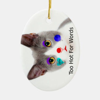 """Too Hot For Words"" Cat With Clown Makeup Ceramic Ornament"