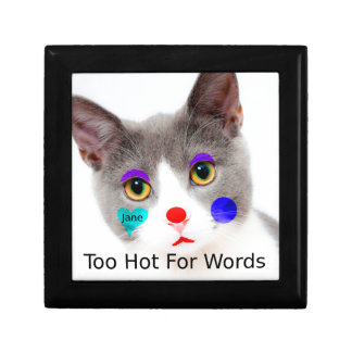 """Too Hot For Words"" Cat With Clown Makeup Gift Box"