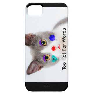 """""""Too Hot For Words"""" Cat With Clown Makeup iPhone 5 Case"""