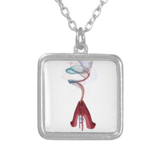 Too Hot Red Stiletto Shoes Art Square Pendant Necklace