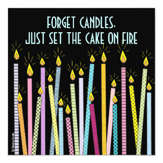 "Too Many Candles!  Birthday Party Invitation 5.25"" Square Invitation Card"