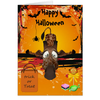 Too Much Candy Funny Giraffe Halloween Card