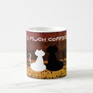 Too Much Coffee White Black Couple Cats Silhouette Coffee Mug