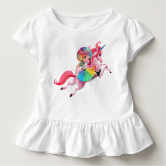 Too Too Yummy Rainbow Unicorn Ruffled Toddler Tee