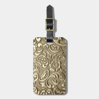 Tooled Gold Luggage Tag