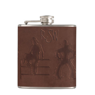 Tooled Leather Cowboys+Horses (Personalized Flask) Hip Flask