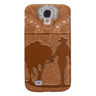 """Tooled Leather """"Cowgirl & Horse"""" Western IPhone 3 Galaxy S4 Cover"""