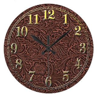 Tooled Leather Large Clock