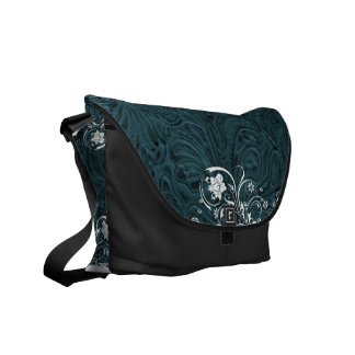 Tooled Teal Blue Leather-Look Western Courier Bag