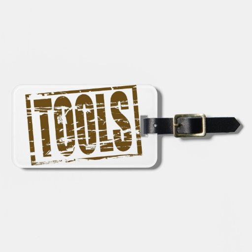Tools brown rubber stamp effect tags for luggage