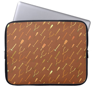 Tools, on chocolate brown laptop computer sleeve