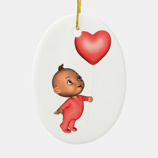 Toon Baby with Pink Heart Balloon Ornament