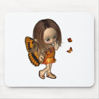 Toon Butterfly Fairy - Orange Mouse Pads
