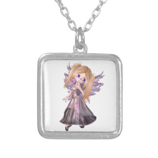 Toon Fairy Princess in Purple Dress Silver Plated Necklace