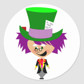 Toon Mad Hatter - Alice's Adventures in Wonderland Classic Round Sticker
