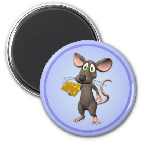 Toon Mouse With Cheese Magnet