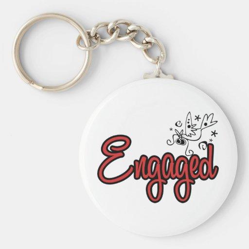 ToonDoveEngagedRed Basic Round Button Key Ring