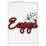 ToonDoveEngagedRed Greeting Card