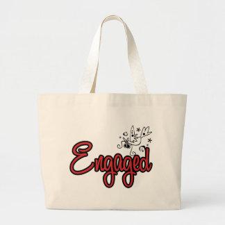 ToonDoveEngagedRed Jumbo Tote Bag