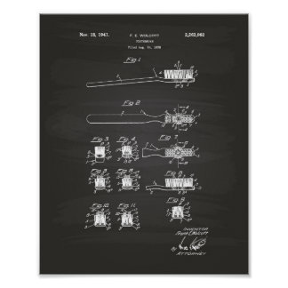 Tooth Brush 1941 Patent Art Chalkboard Poster