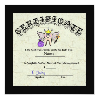 Tooth Fairy Certificate   Customize It! Card