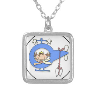 tooth fairy flying silver plated necklace