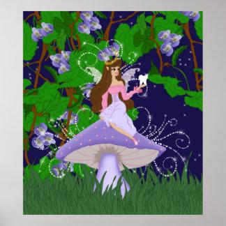 Tooth Fairy Princess on Purple Mushroom Poster