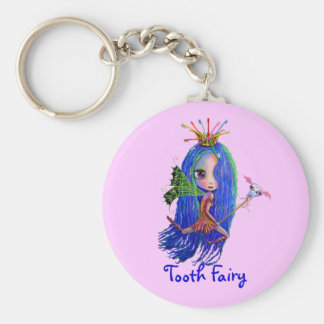 Tooth Fairy with Toothbrush Crown Big Eyes Key Ring