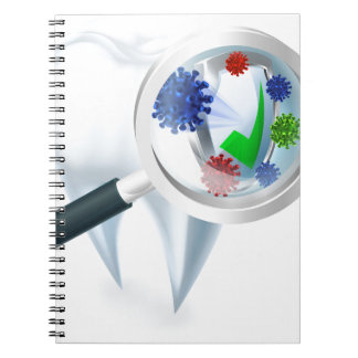 Tooth Magnifying Glass Bacteria Concept Notebooks
