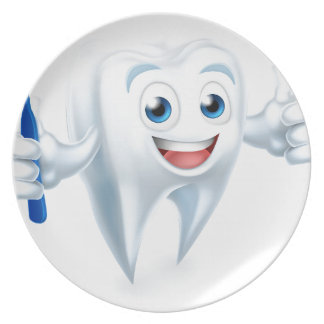 Tooth Mascot Character Plate