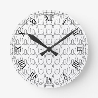 Tooth O'Clock Classic Roman Numerals Round Clock