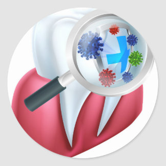 Tooth Protection Shield Round Sticker