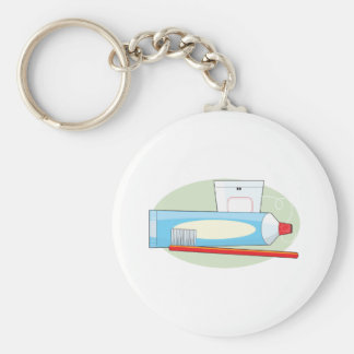 Toothpaste and Brush Basic Round Button Key Ring