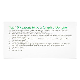 Top 10 Reasons to be a Graphic Designer Personalized Photo Card