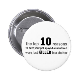 Top 10 Reasons to Spay or Neuter 6 Cm Round Badge
