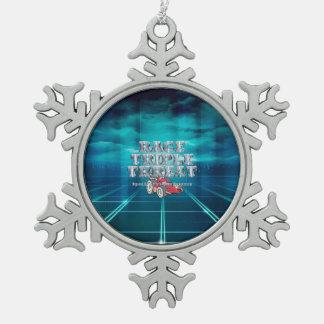 TOP Auto Race Triple Threat Pewter Snowflake Decoration