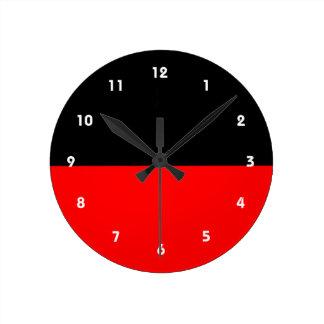 top black bottom red DIY custom background templat Round Clock