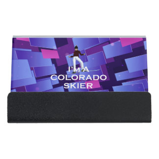TOP Colorado Skier Desk Business Card Holder