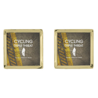 TOP Cycling Triple Threat Gold Finish Cuff Links