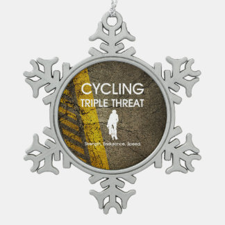 TOP Cycling Triple Threat Snowflake Pewter Christmas Ornament