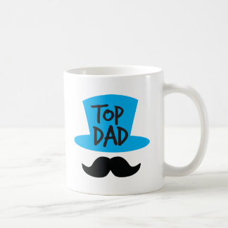 TOP DAD top hat and moustache Basic White Mug