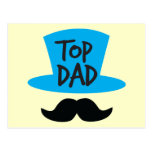 TOP DAD top hat and moustache Postcard