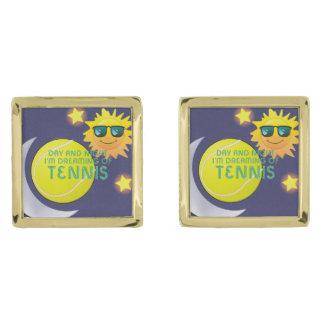 TOP Day Night Tennis Gold Finish Cufflinks