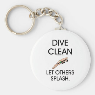 TOP Dive Clean Basic Round Button Key Ring